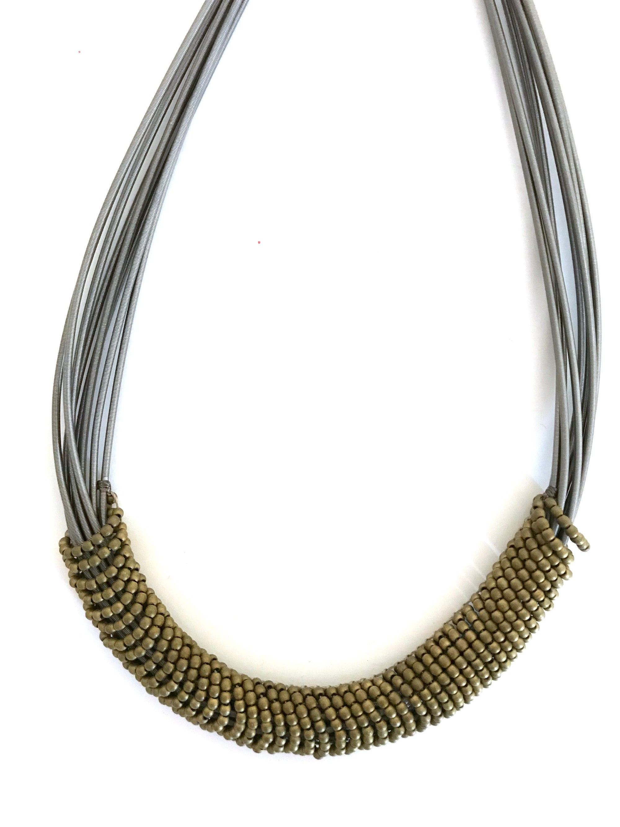 Silver and Gold Ring Necklace
