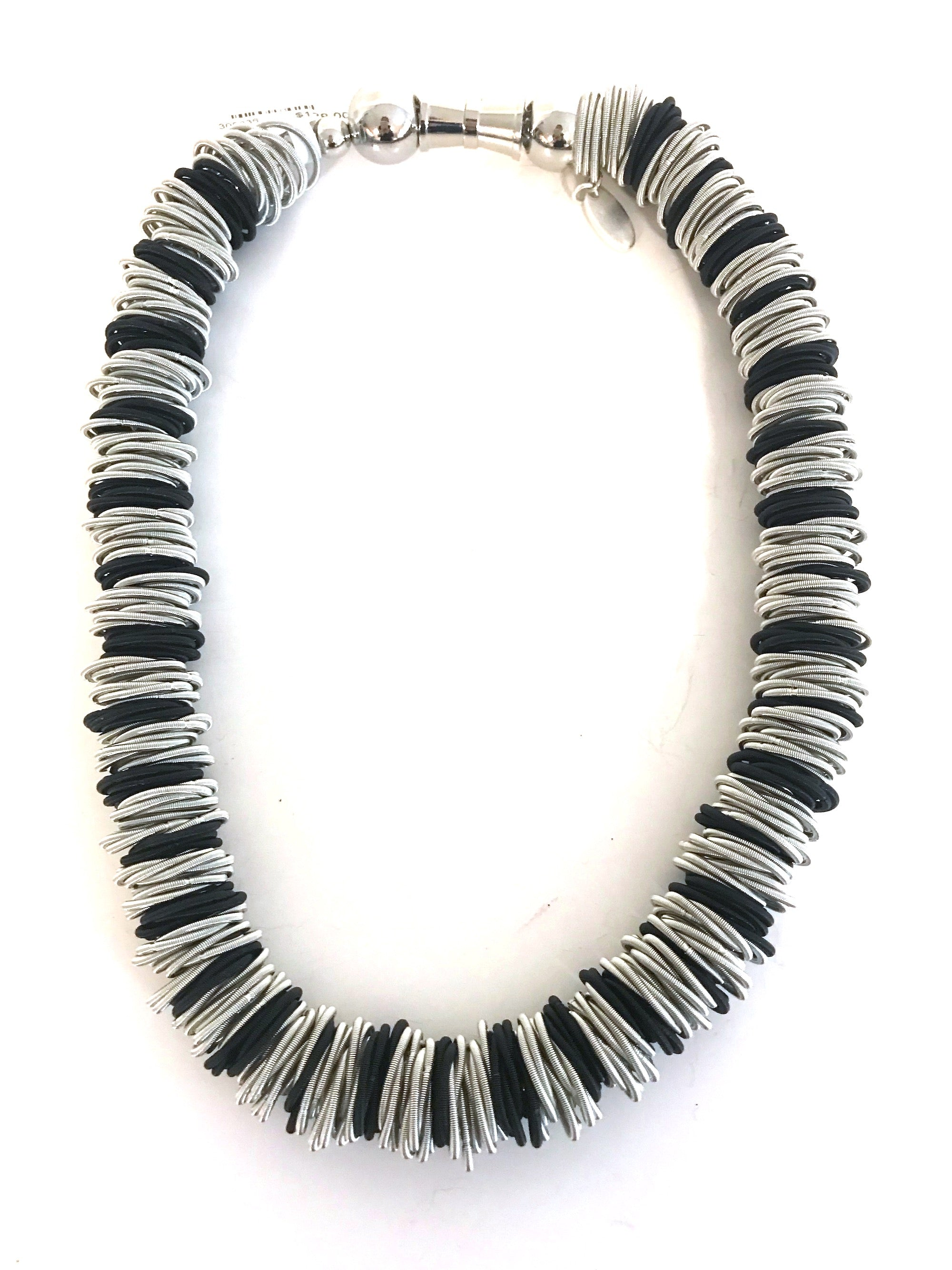 Silver & Black Spring-Wire Necklace