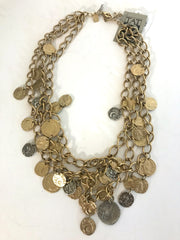 Gold Dangle Roman Coin Necklace