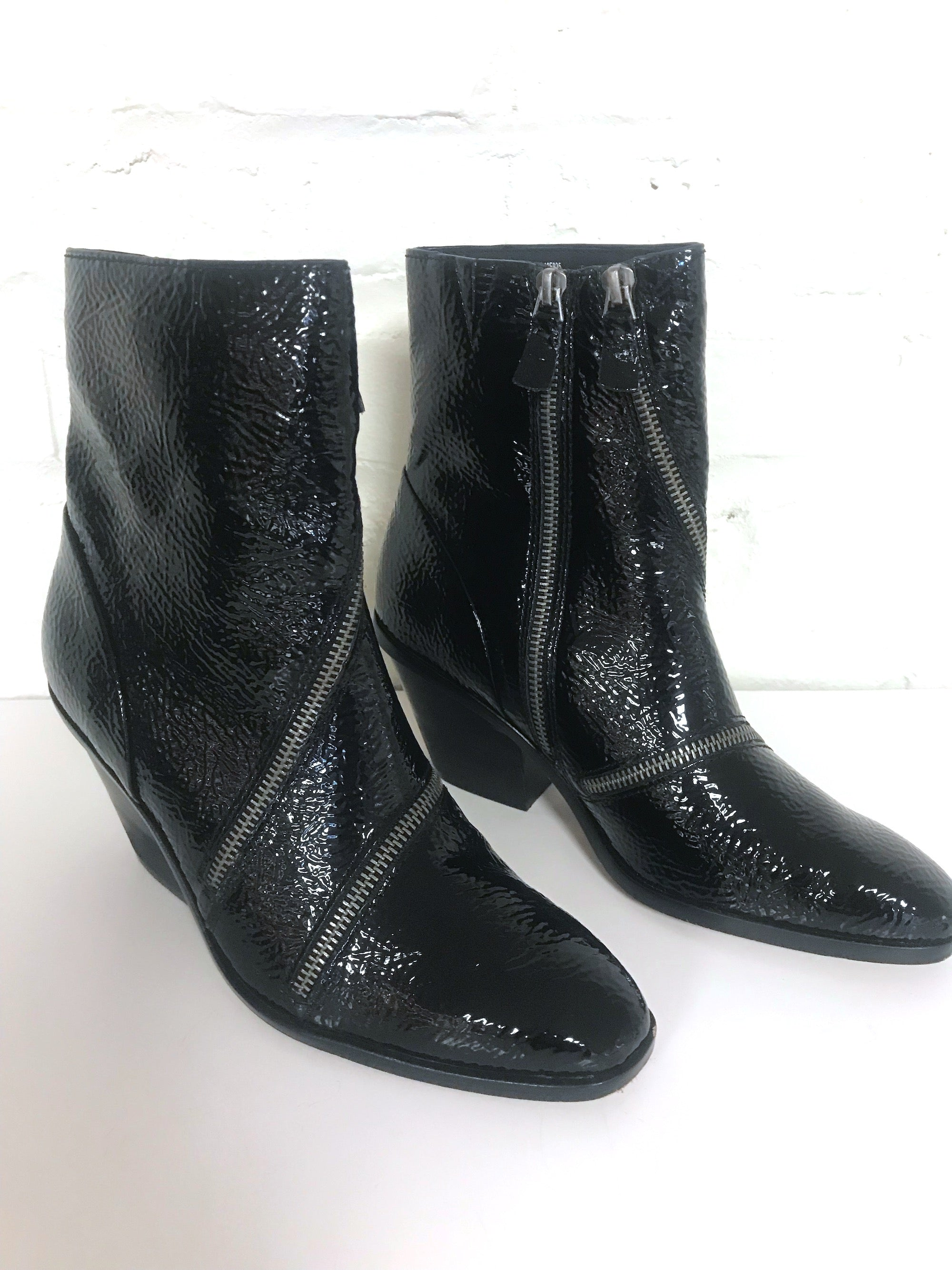 Patent Leather Zipper Boots