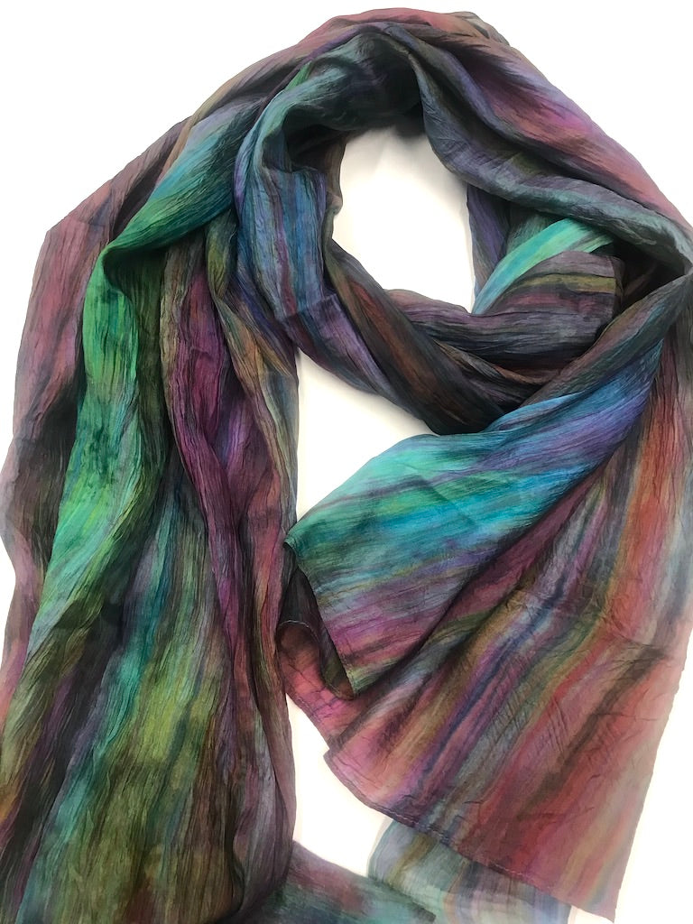 Watercolor Iridescence Silk Scarf