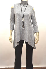 Mock Neck Open Shoulder Tunic