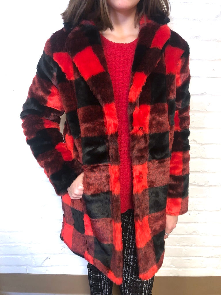 Buffalo Plaid Faux Fur Coat