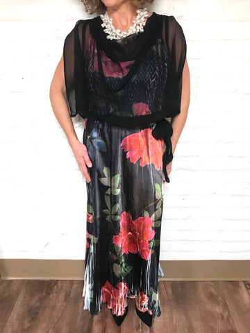 Dramatic Floral Long Dress