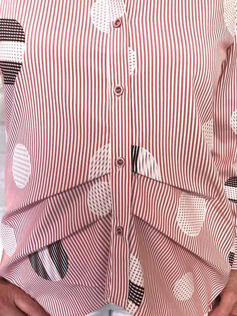 Circles and Stripes Red Blouse