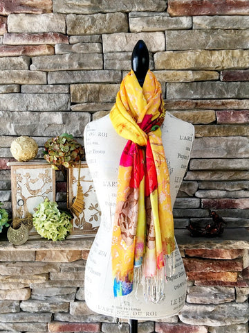 100% Cashmere Handmade Shawl - Playful and Radiant