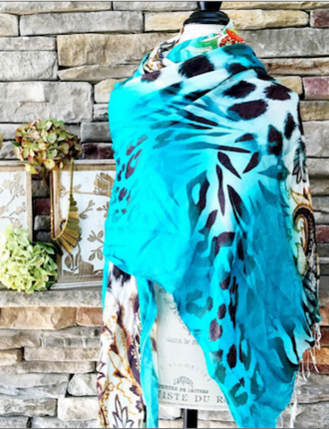 100% Cashmere Handmade Shawl - Panthers Nation