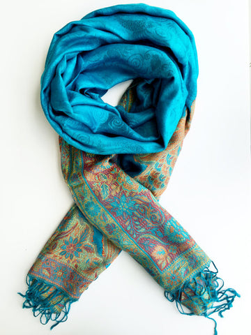 100% Cashmere Handmade Shawl - Blue Floral Stamp with Rich Accents