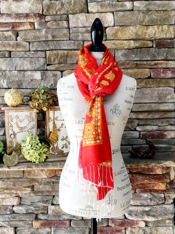 100% Cashmere Handmade Shawl - Red & Gold Royalty