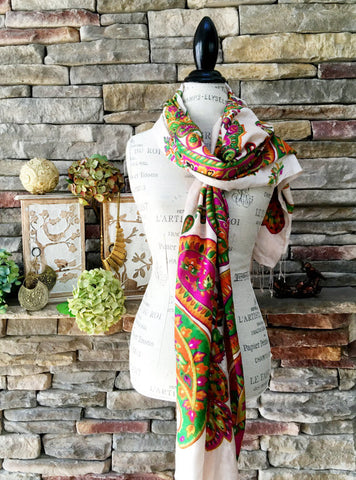 100% Cashmere Handmade Shawl - Naturals and Brights