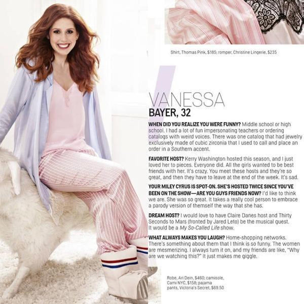 VANESSA BAYER FROM SATURDAY NIGHT LIVE IN OUR SWEETHEART CAMI SEEN IN COSMO MAG