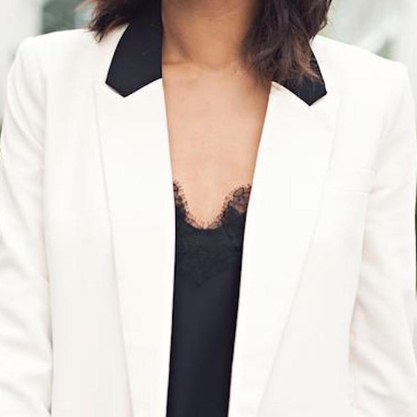 GRASIE MERCEDES IS SO ELEGANTLY CHIC IN A TUX BLAZER AND OUR ORIGINAL CAMI