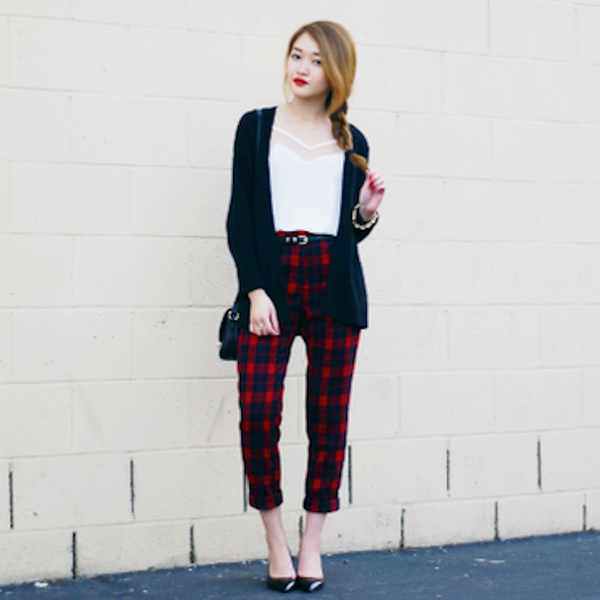 ANALISA NGUYEN FROM ROUGE FOX KNOWS HOW TO WEAR PLAID PANTS - WITH BASICS