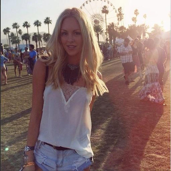 SHEA MARIE FROM PEACE LOVE SHEA PARTIES AT COACHELLA IN OUR SWEETHEART CAMI