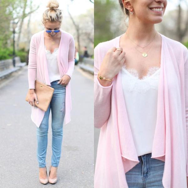 PINK CASHMERE + OUR WHITE RACER CAMI = SPRING PERFECTION
