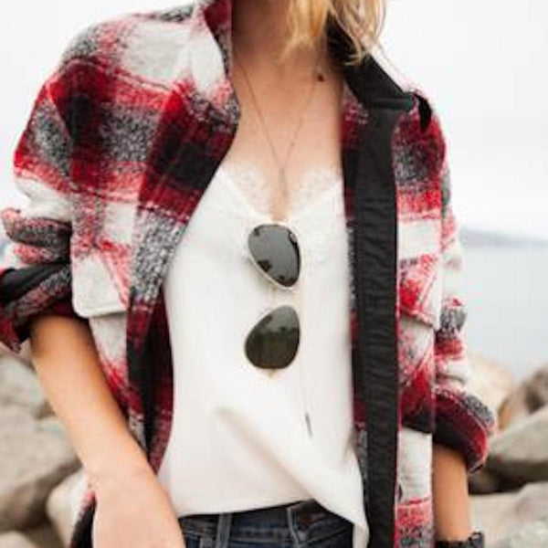 ALICIA FROM CHEETAH IS THE NEW BLACK IS LUMBERJACK CHIC IN OUR RACER CAMI
