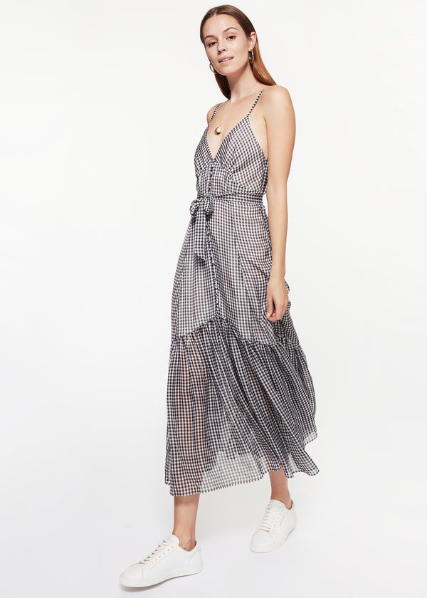 Laurel Dress Black Mini Gingham