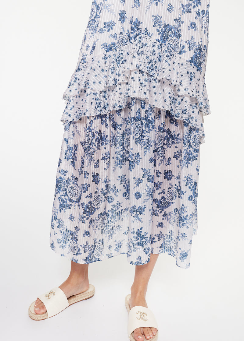 Victory Cotton Dress Ceramic Denim Floral
