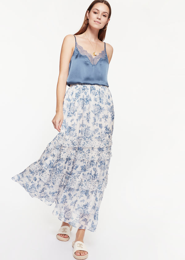 Liu Skirt Ceramic Denim Floral
