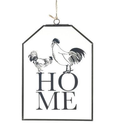 Home & Etched Chicken Glass Sign  Parlane