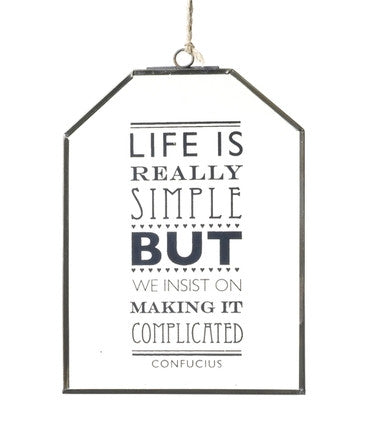 Life Is Really Simple Glass Sign Glass Sign  Parlane
