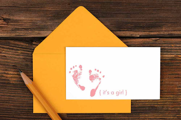 It's a Girl Enclosure Card  Ruff House Art