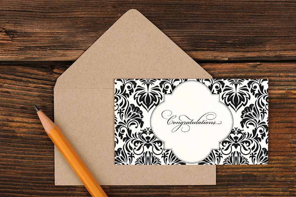 Damask Congratulations Card  Ruff House Art