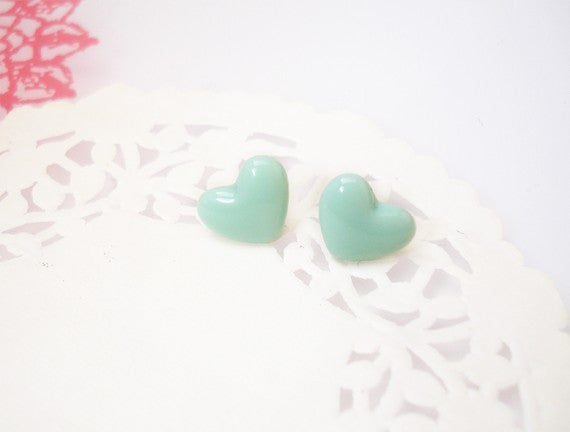 Mint Heart Earring Studs  Fancy Pop