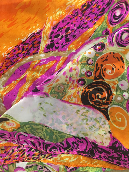 Silk Neck Scarf | Orange & Magenta