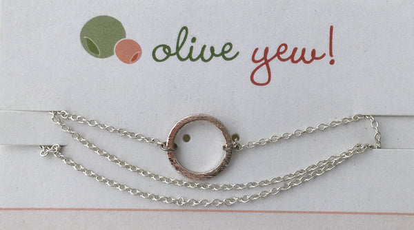 Simple Circle Necklace  Olive Yew