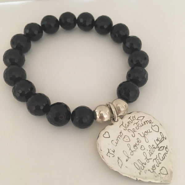 Onyx Bead Bracelet with Sterling Silver Heart  ...