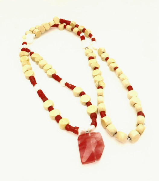 Stone Glass & Wood Bead Necklace Brown Lisa Carney Design - 1