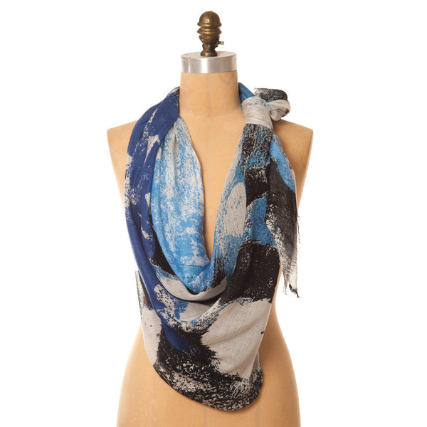 Abstract Square Scarf Cobalt/Black Lee Garrett - 1