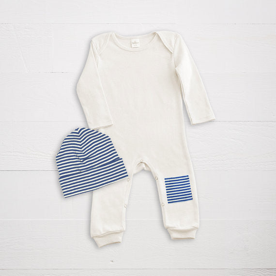 Ivory & Navy Patch Romper + Striped Cap  Truffle Kids