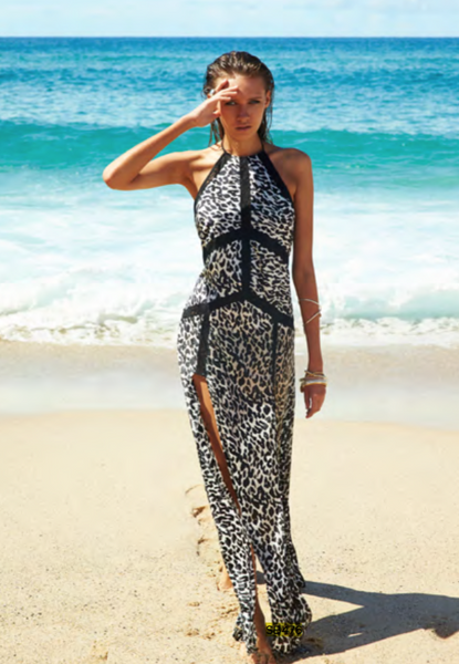 Leopard Halterneck Maxi Dress  Suboo - 1