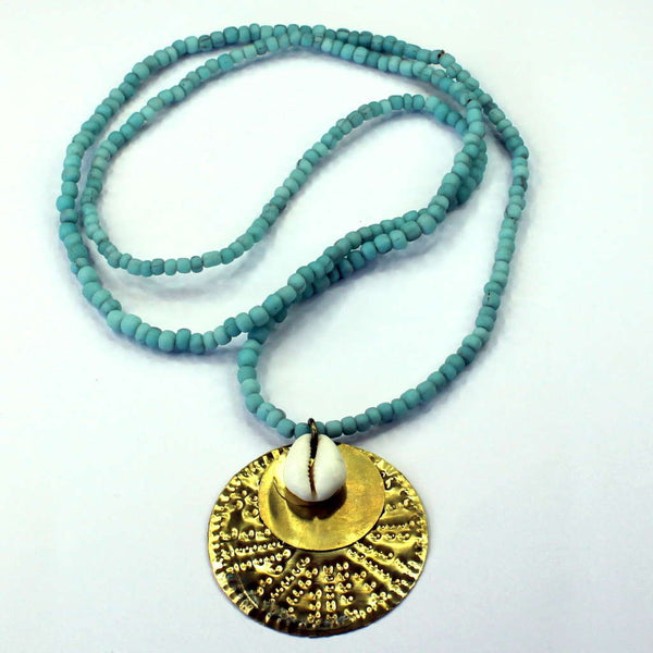 Sea Urchin Triple Disc Necklace Gold Lisa Carney Design