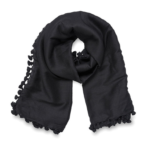 Grace Silk Blend Scarf Black Citta Design - 1