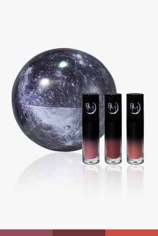 Nude Trio Deep/Dark - Liquid to Matte Lipstick Moon Tin Set