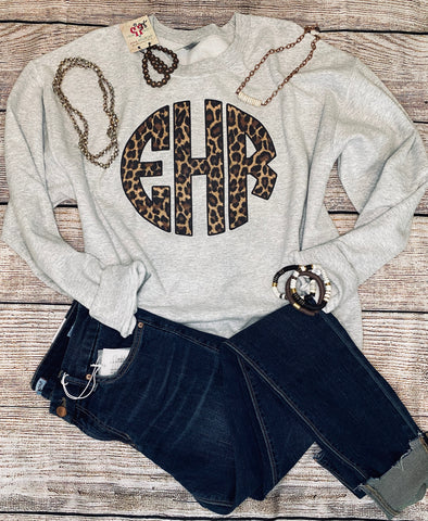 Monogram Sweatshirt - Brown Leopard Block Letters