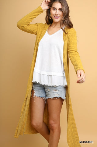 Long Sleeve Knitted Long Cardigan w/ Side Slits - 3 COLORS (Black, Mustard, Grey)