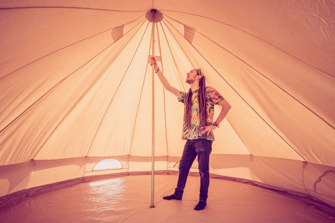 Inside a glamping bell tent