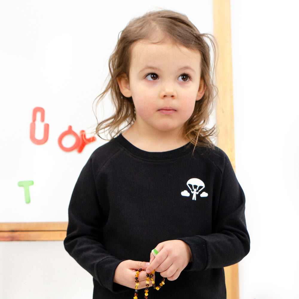 lil tot - crewneck - sweater - black - chute