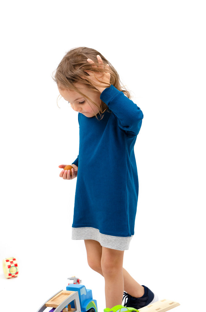 lil tot - sweater dress - moroccan/grey