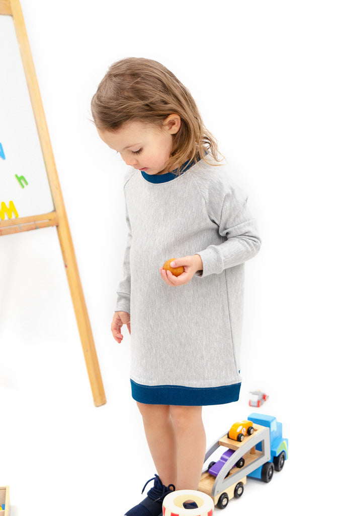 lil tot - sweater dress - grey/moroccan
