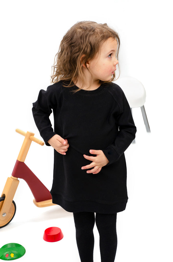 lil tot - sweater dress - black