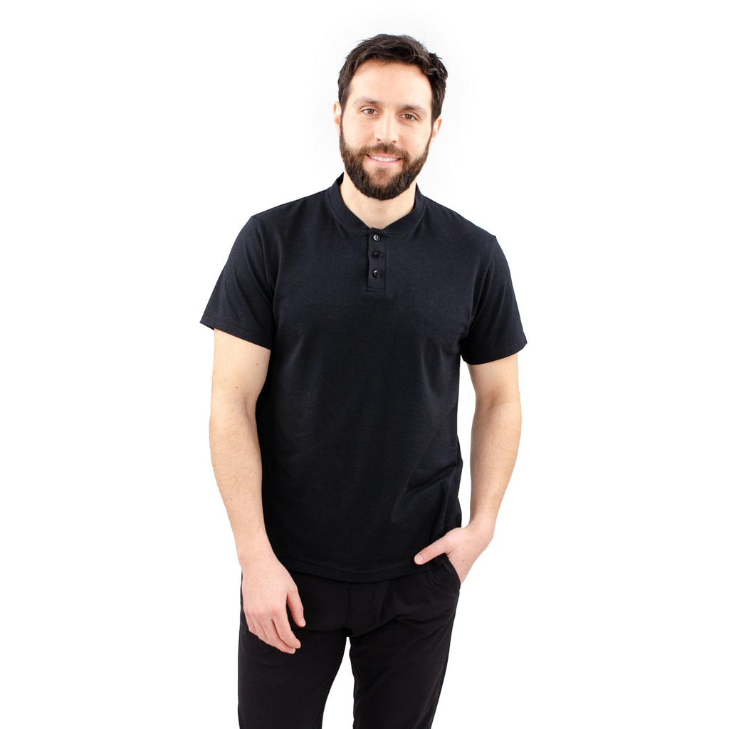 Cloutier - mens - mock collar - polo - black