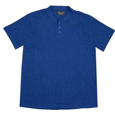 Cloutier - mens - mock collar - polo - blue