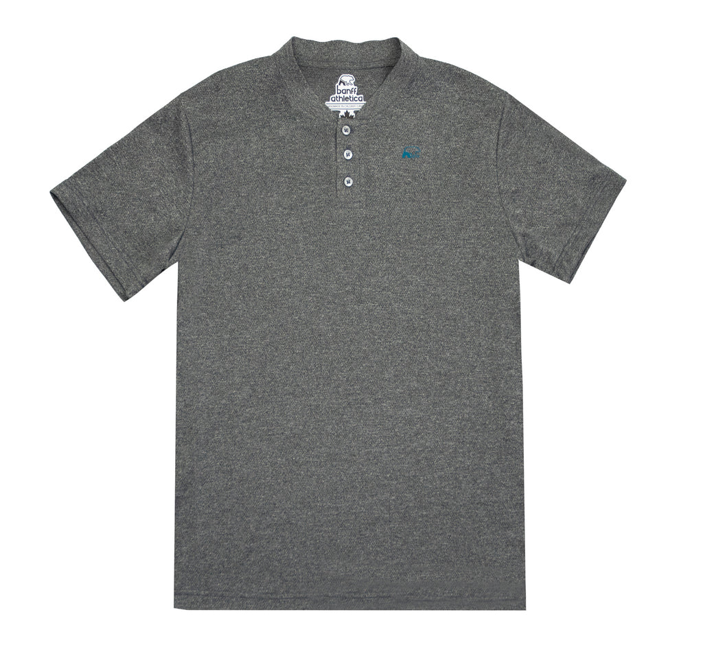Banff Athletica - mens - mock collar - polo - grey