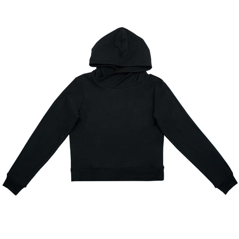 Cloutier - womens - crop - hoodie - black