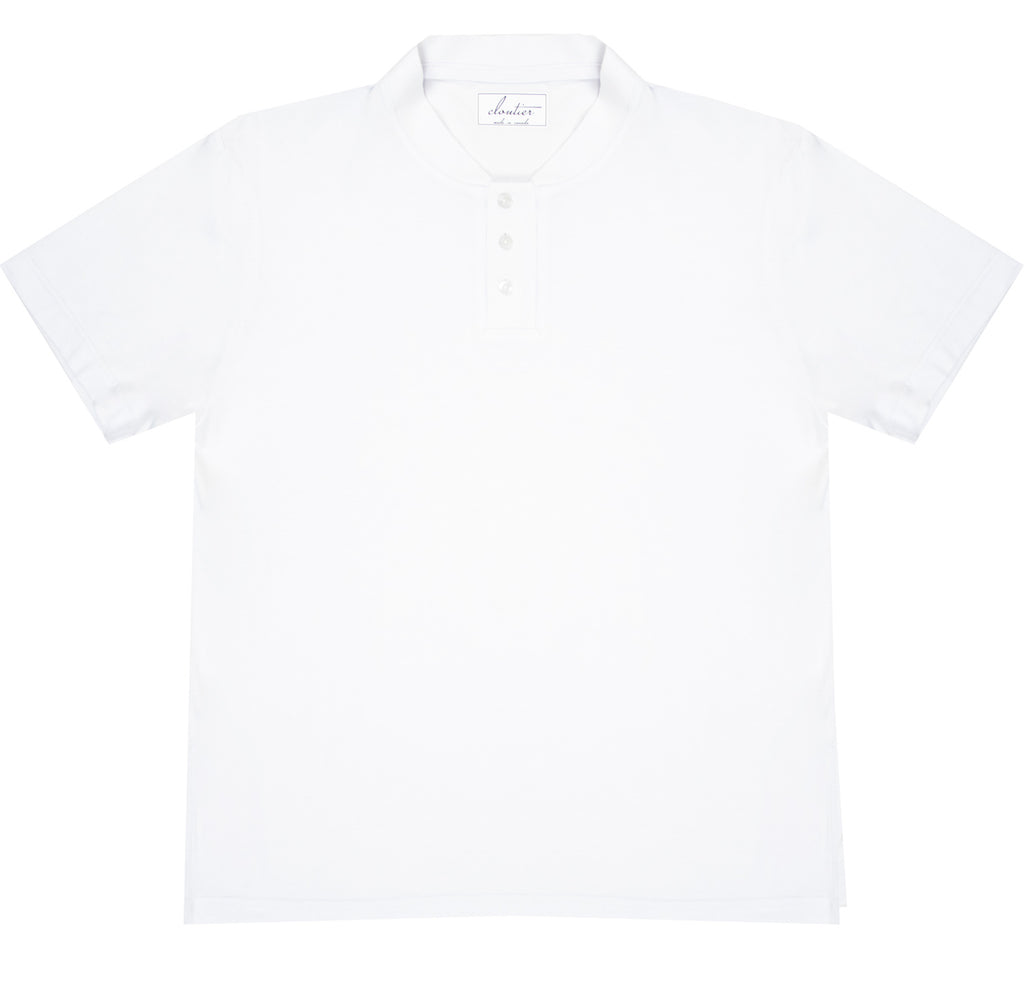 Cloutier - mens - mock collar - polo - white